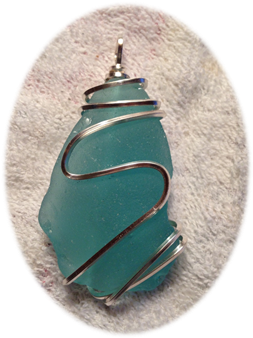 Prince Edward Island Teal Sea Glass Pendant, wrapped in 18 gauge Sterling Silver.