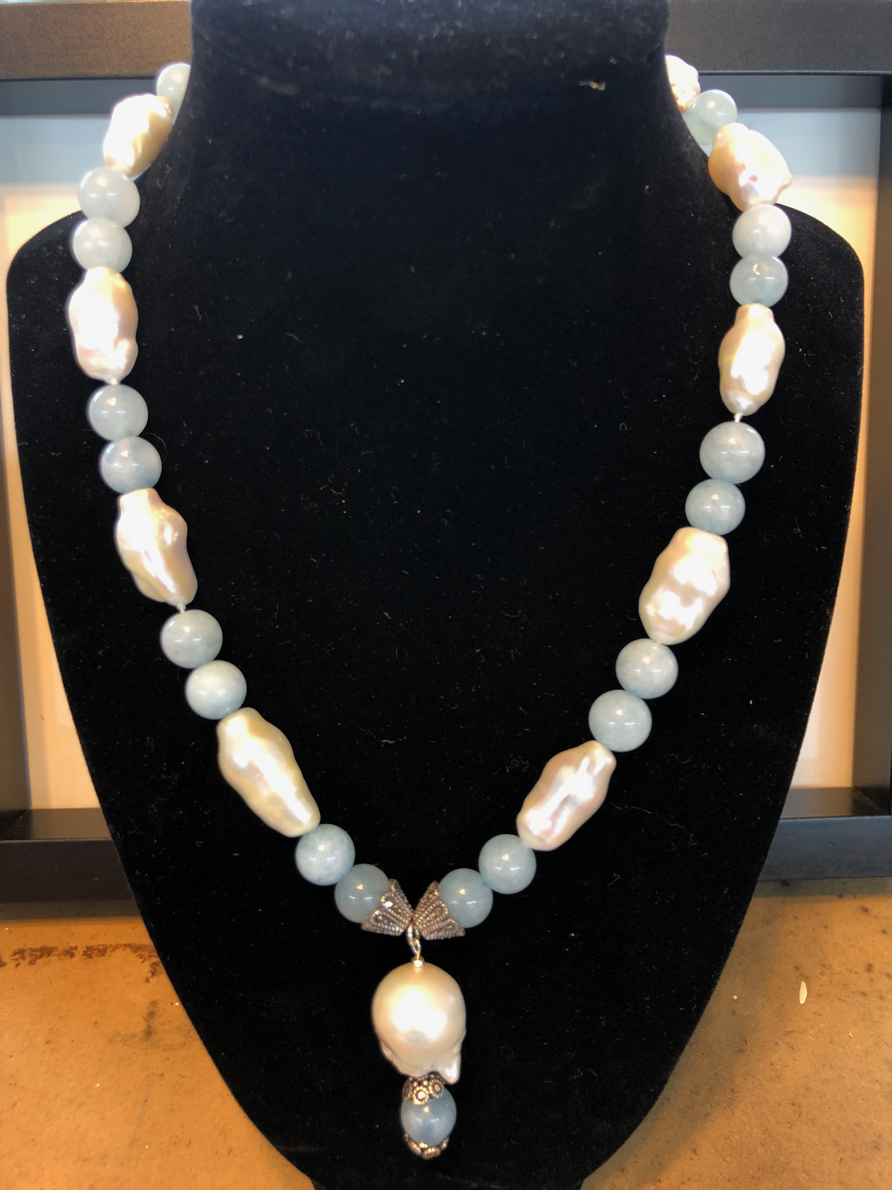 Sterling Silver Necklace, w/Freshwater Baroque Pearls and Aquamarines