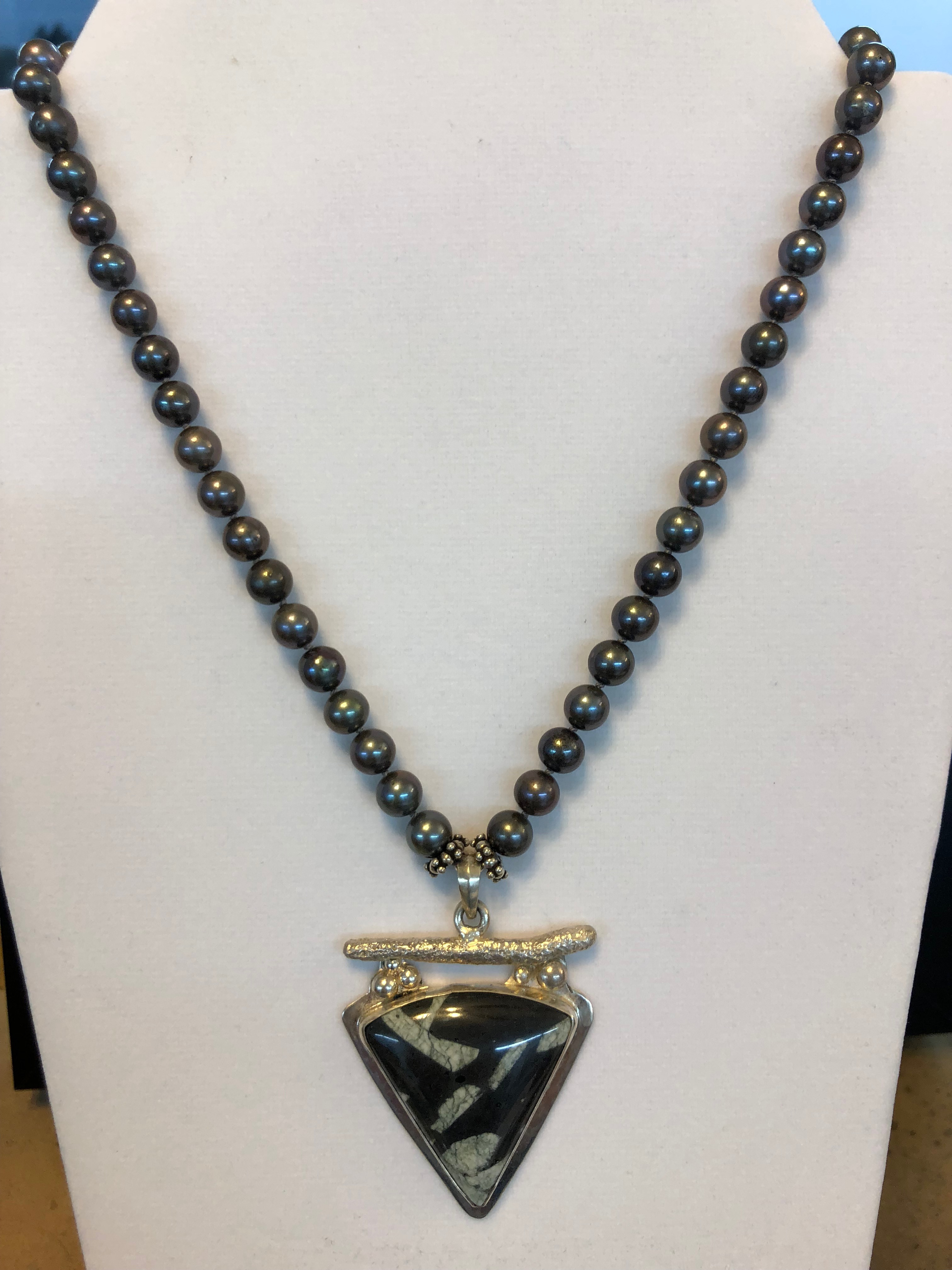 Sterling Silver Necklace w/Freshwater Black 8mm Pearls, Chinese Stone Pendant