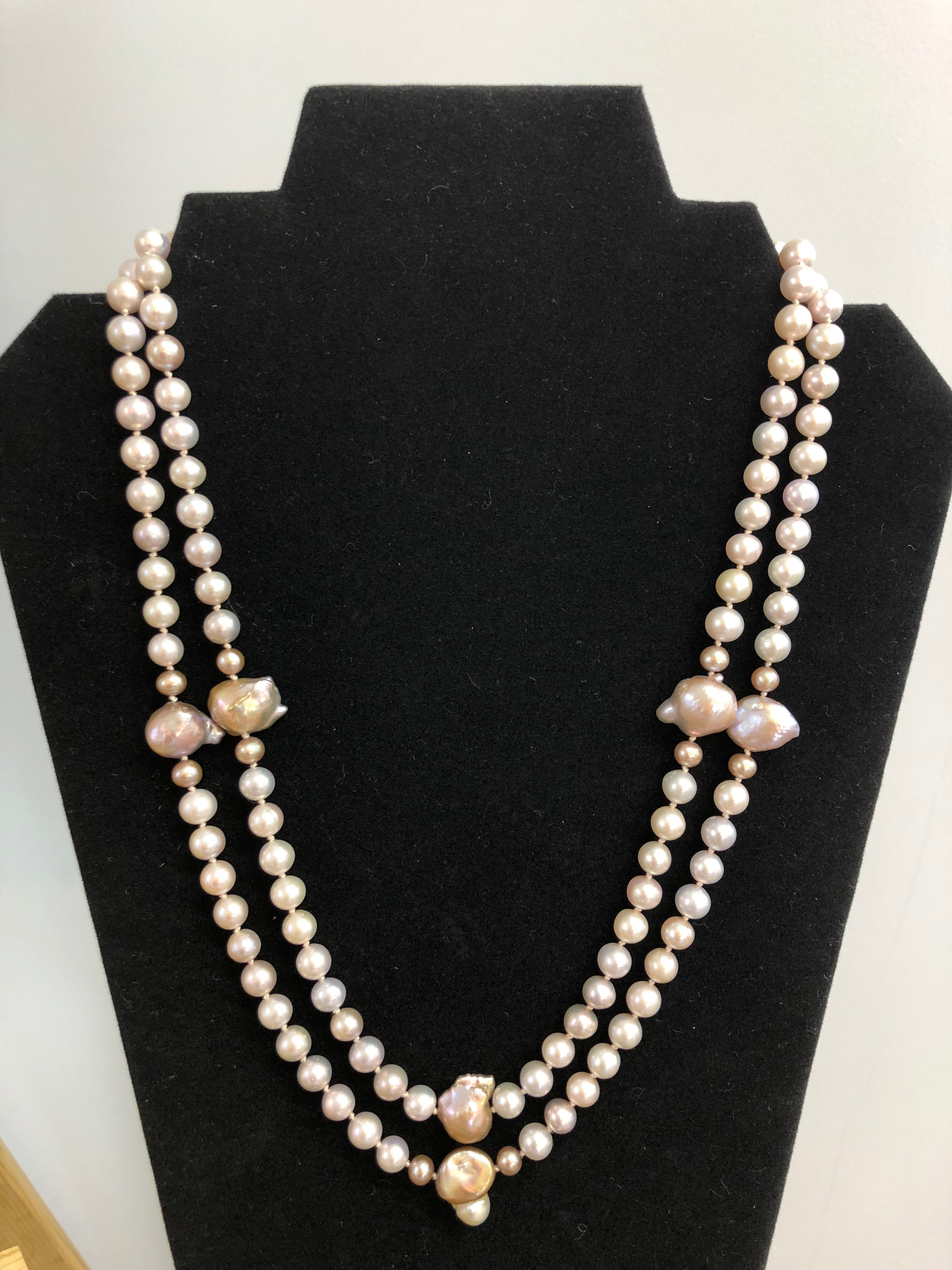 Sterling Silver Necklace, Double Strand Freshwater Champagne & Indonesian Pearls