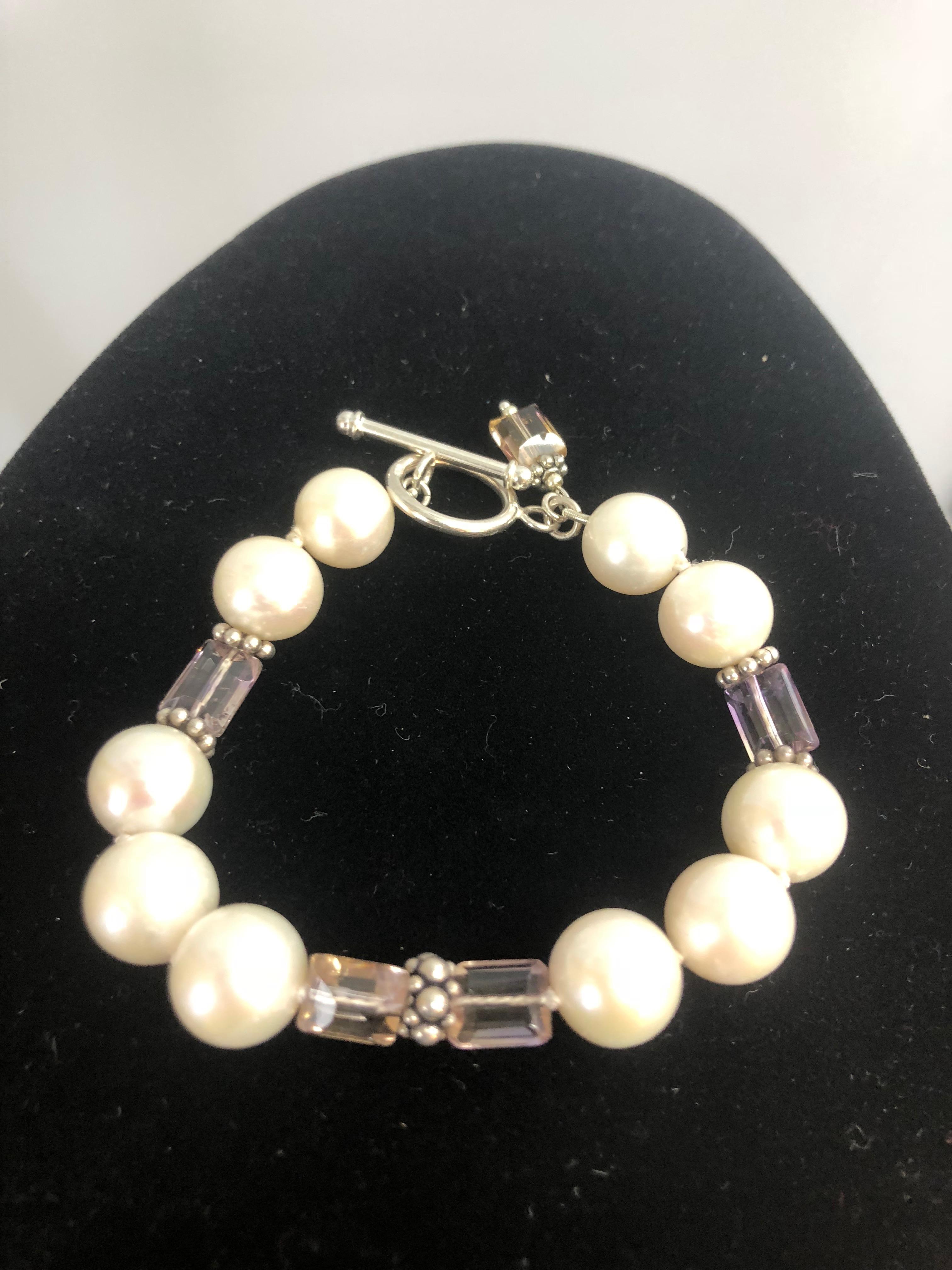 Freshwater 12mm pearls & emerald shape Ametrine Sterling Silver Bracelet