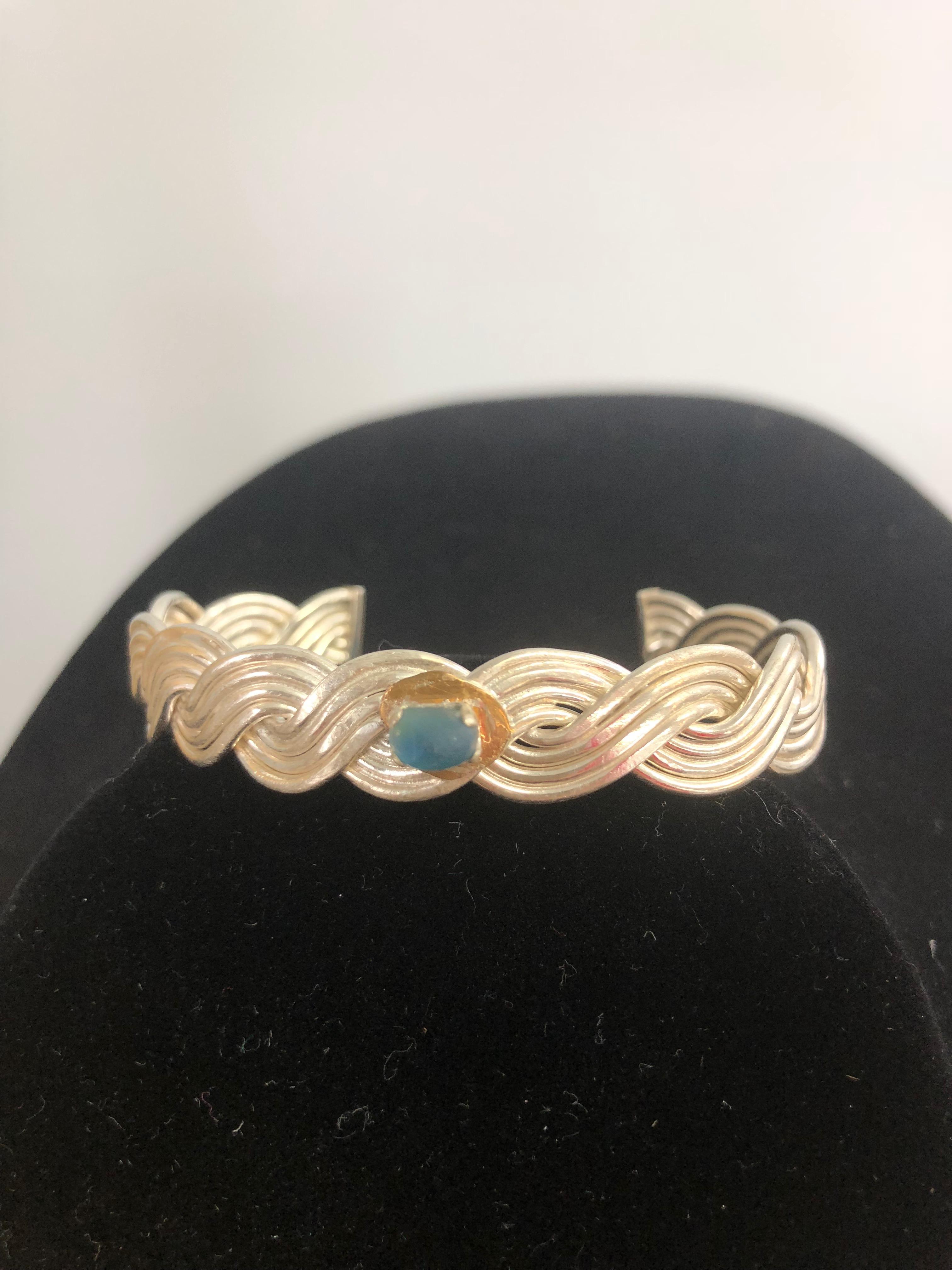Sterling Silver Cuff Bracelet w/Prince Edward Island Periwinkle Blue Sea Glass