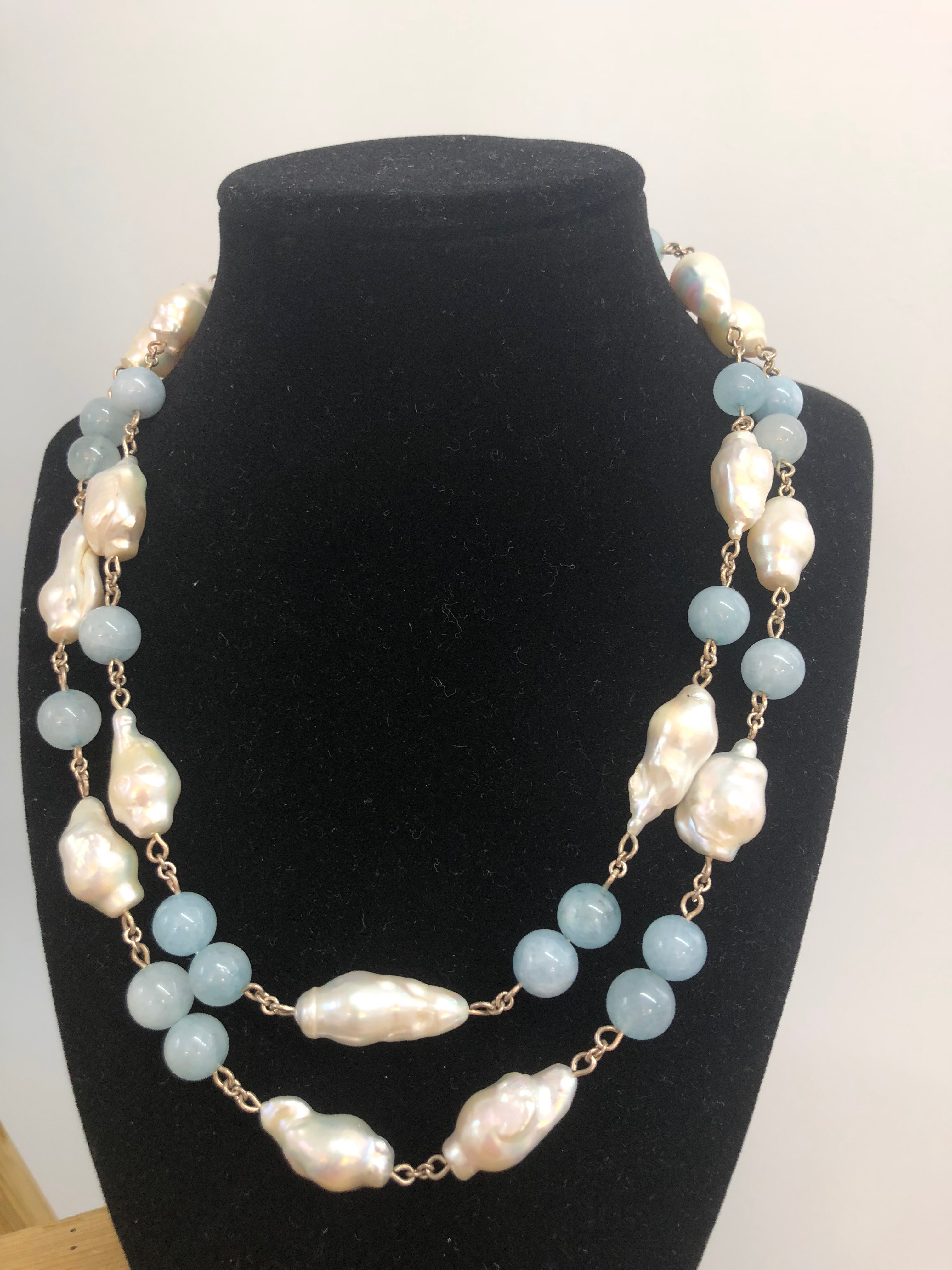 Sterling Silver Double Strand Necklace w/Freshwater Baroque Pearls & 7mm Aquamarine balls