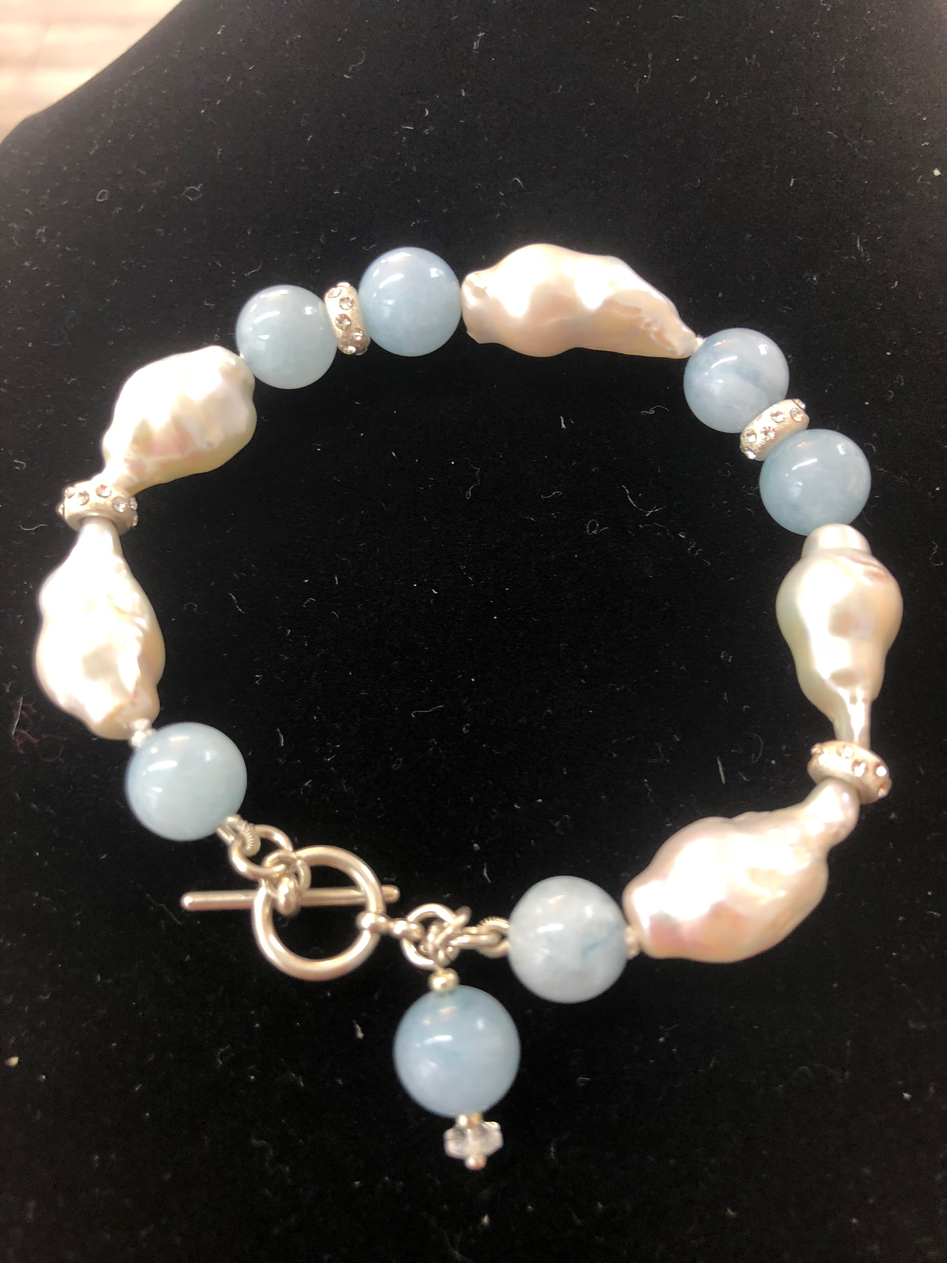 Sterling Silver Bracelet w/Freshwater Baroque Pearls & 7mm Aquamarine Balls