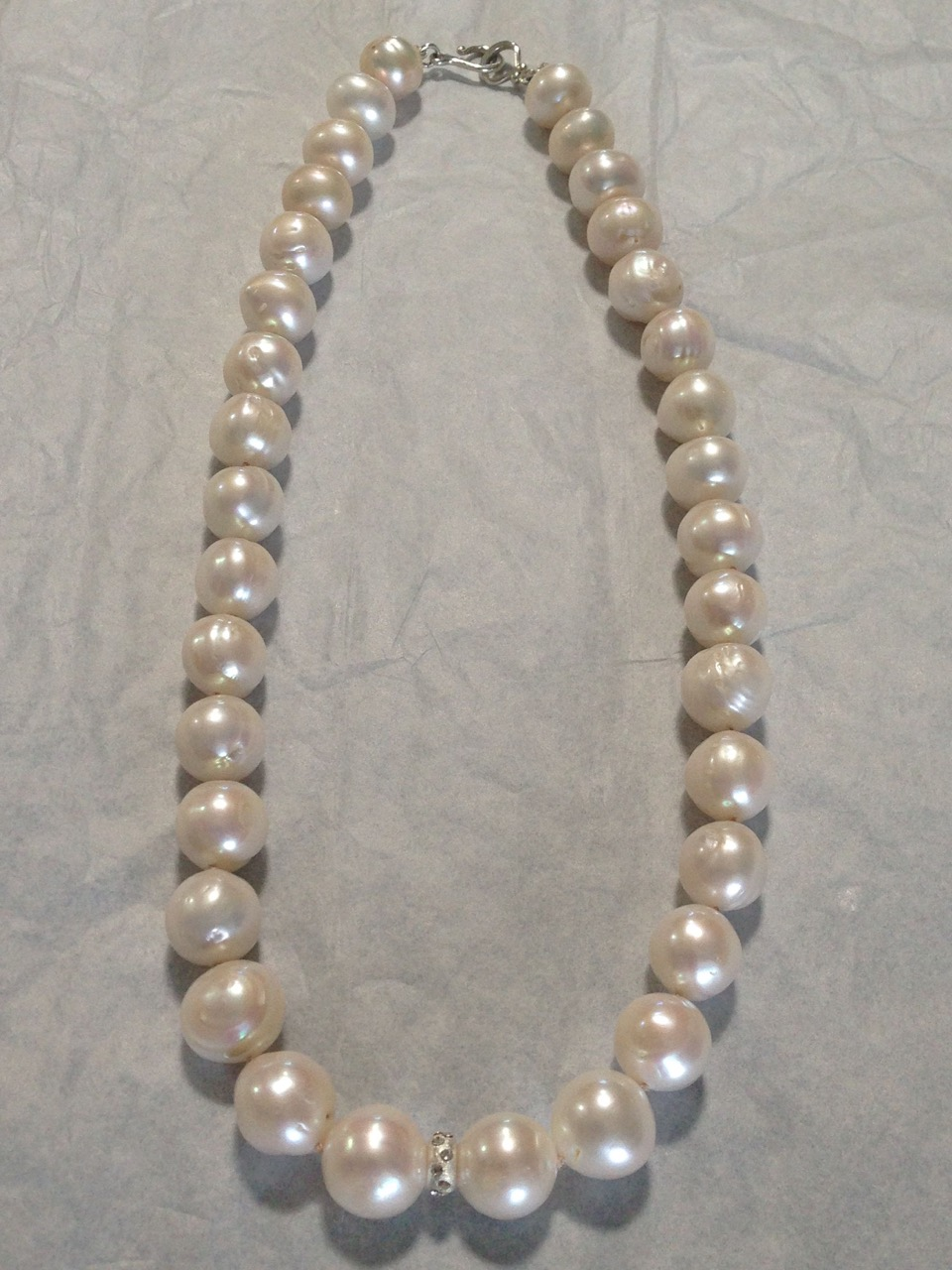 12mm White Freshwater Pearls w/s.s., cz spacers, single strand necklace