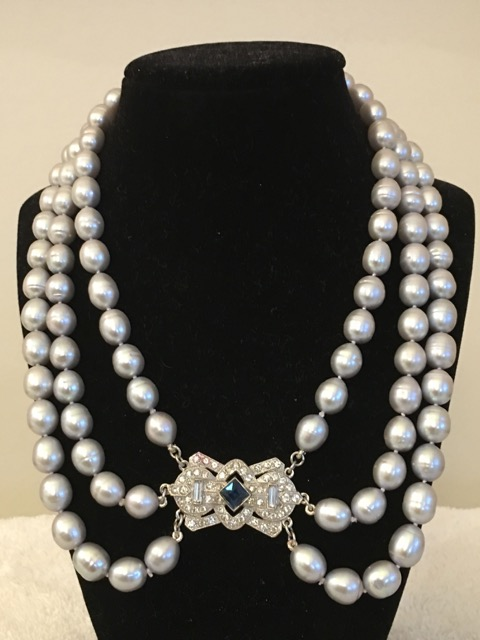 8mm Silver Freshwater Pearls w/Antique Estate Clasp, 3 Strand Necklace.