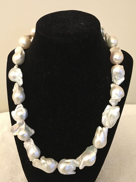 Necklace, Freshwater Fireball Pearls w/Sterling Silver Clasp.