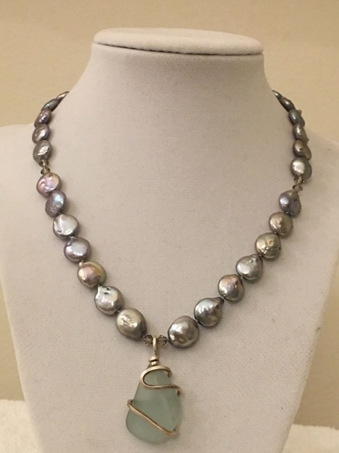 Slate Coin Freshwater Pearl & Swky. crystal necklace w/a Silver wrapped PEI Aqua Sea Glass pendant