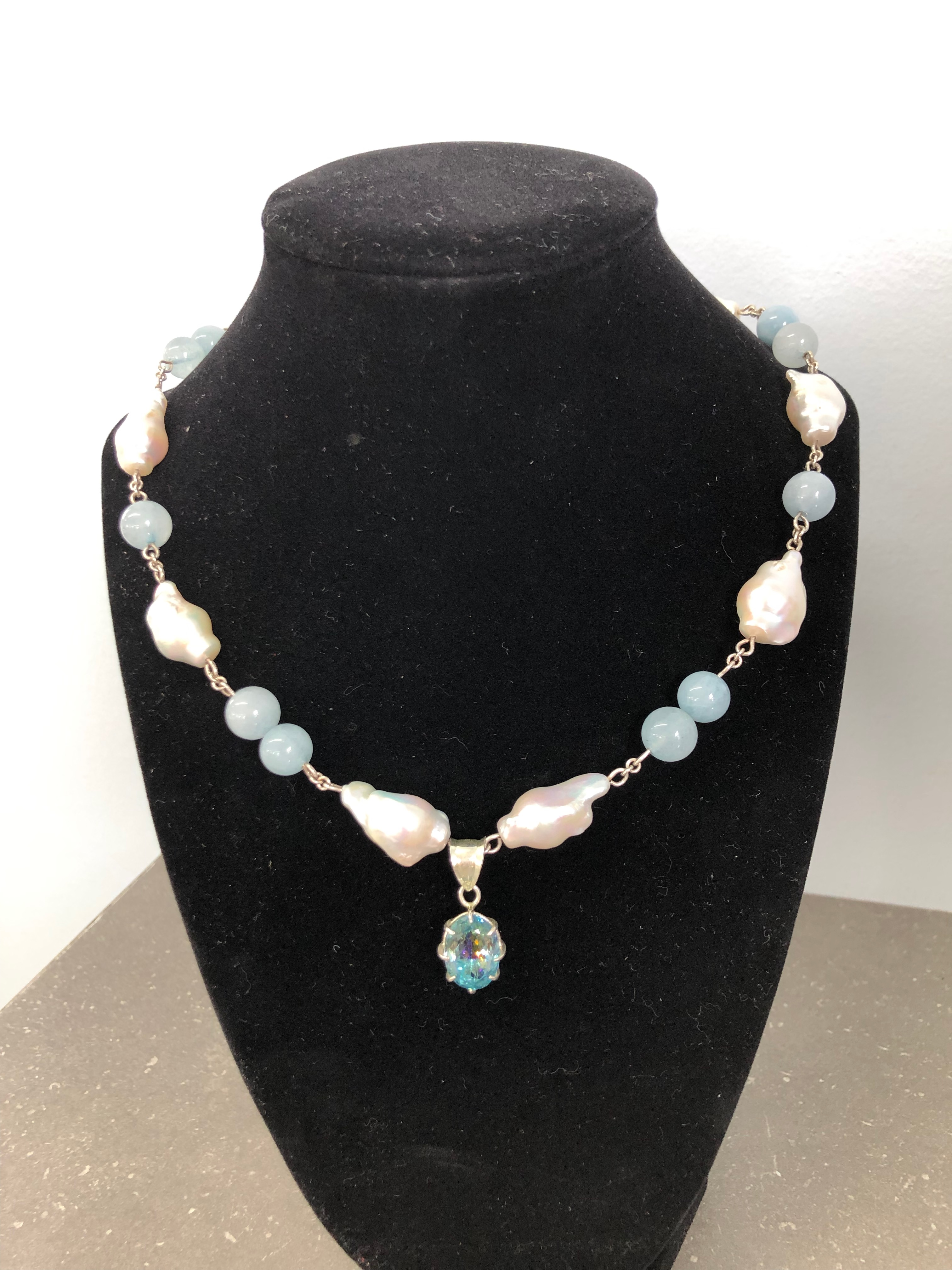 Sterling Silver Necklace,Freshwater Baroque Pearls w/aquamarine Balls & Sterling Silver Pendant w/Mystic Topaz