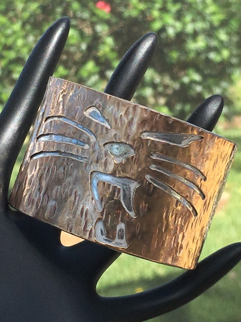 Sterling silver 18 gauge 2'' wide cuff bracelet  w/Panther 14k gold filled inlay,  Back finished w/2 tiger eye bezels