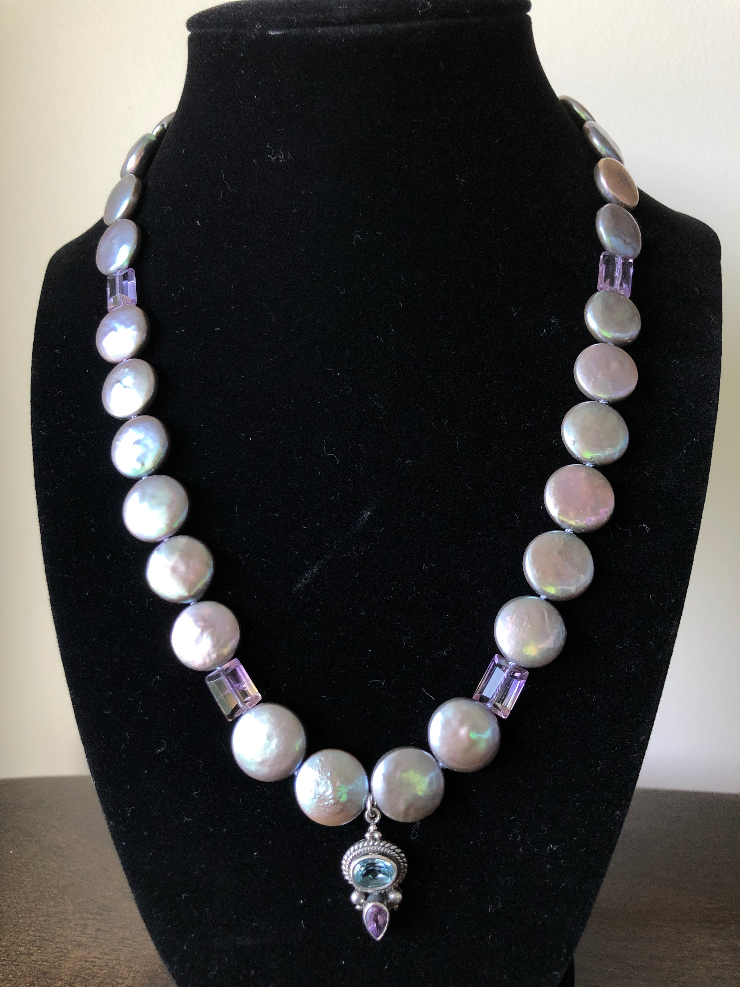 Sterling Silver Necklace w/Freshwater Silver Coin Pearls & Amethyst & S.S. Pendant w/Topaz & Amethsyt