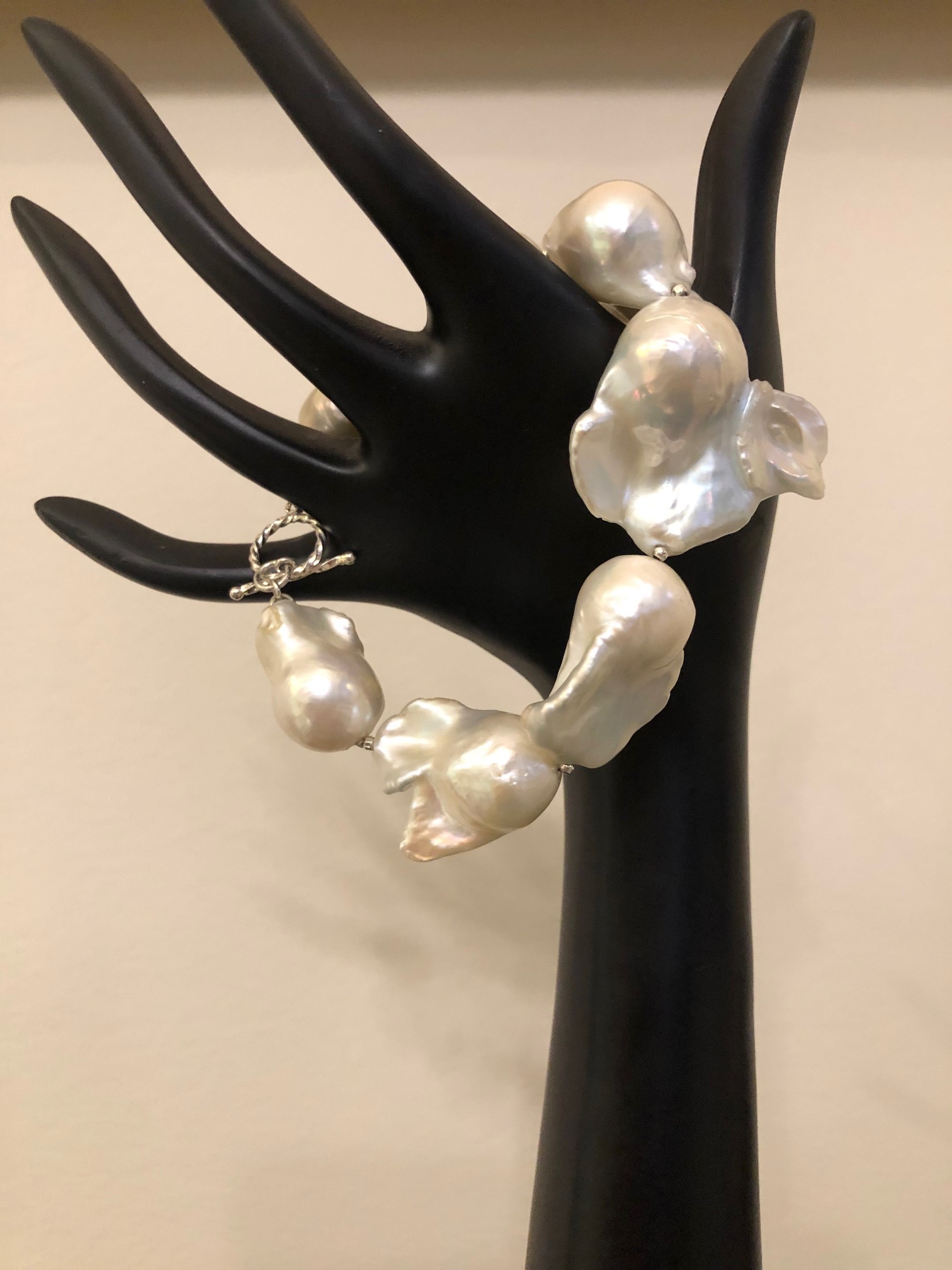 Sterling Silver w/Freshwater Baroque White Pearl Bracelet
