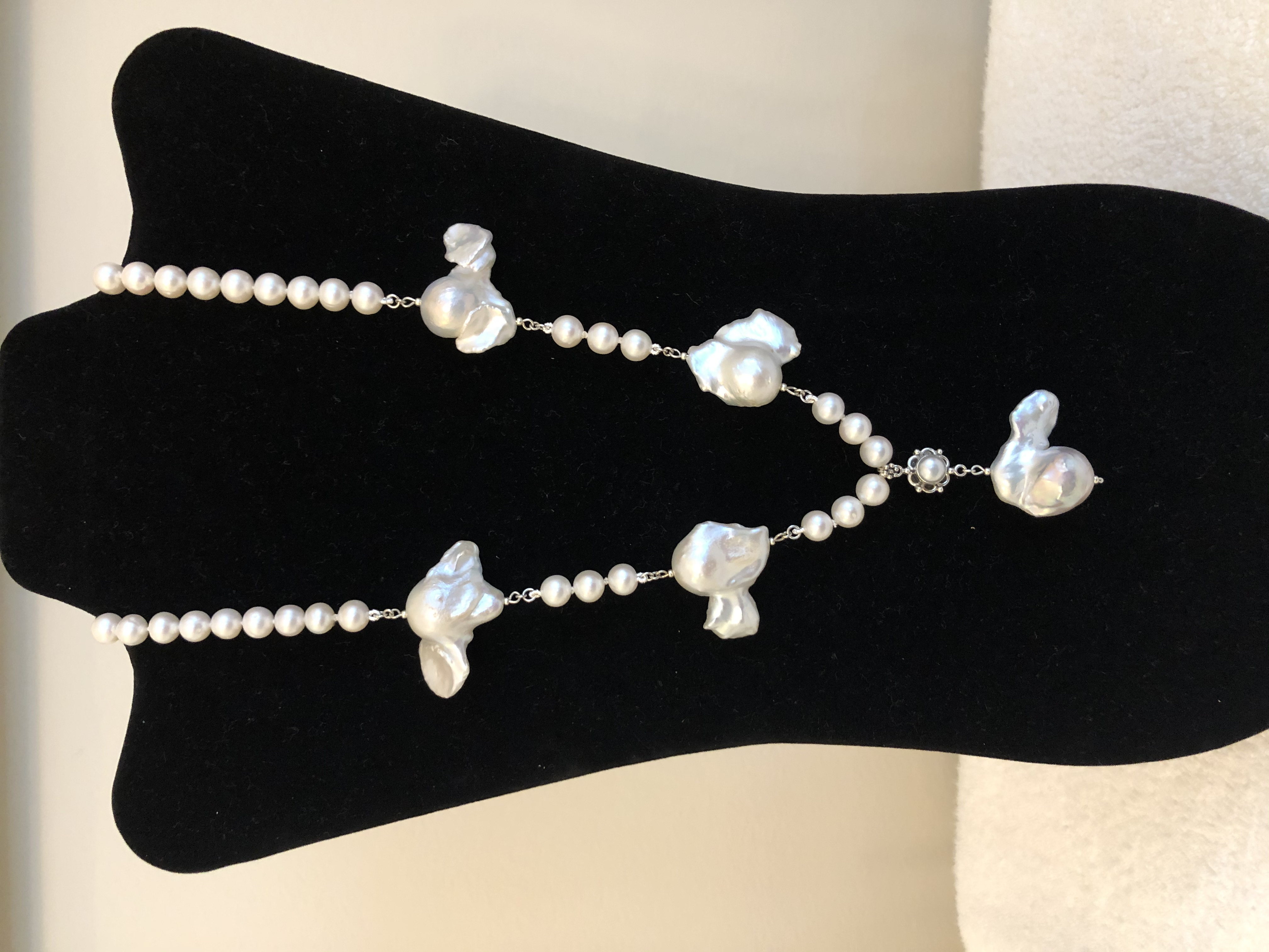 Sterling Silver Necklace, w/Freshwater Cultured Baroque & 8.5mm Pearls