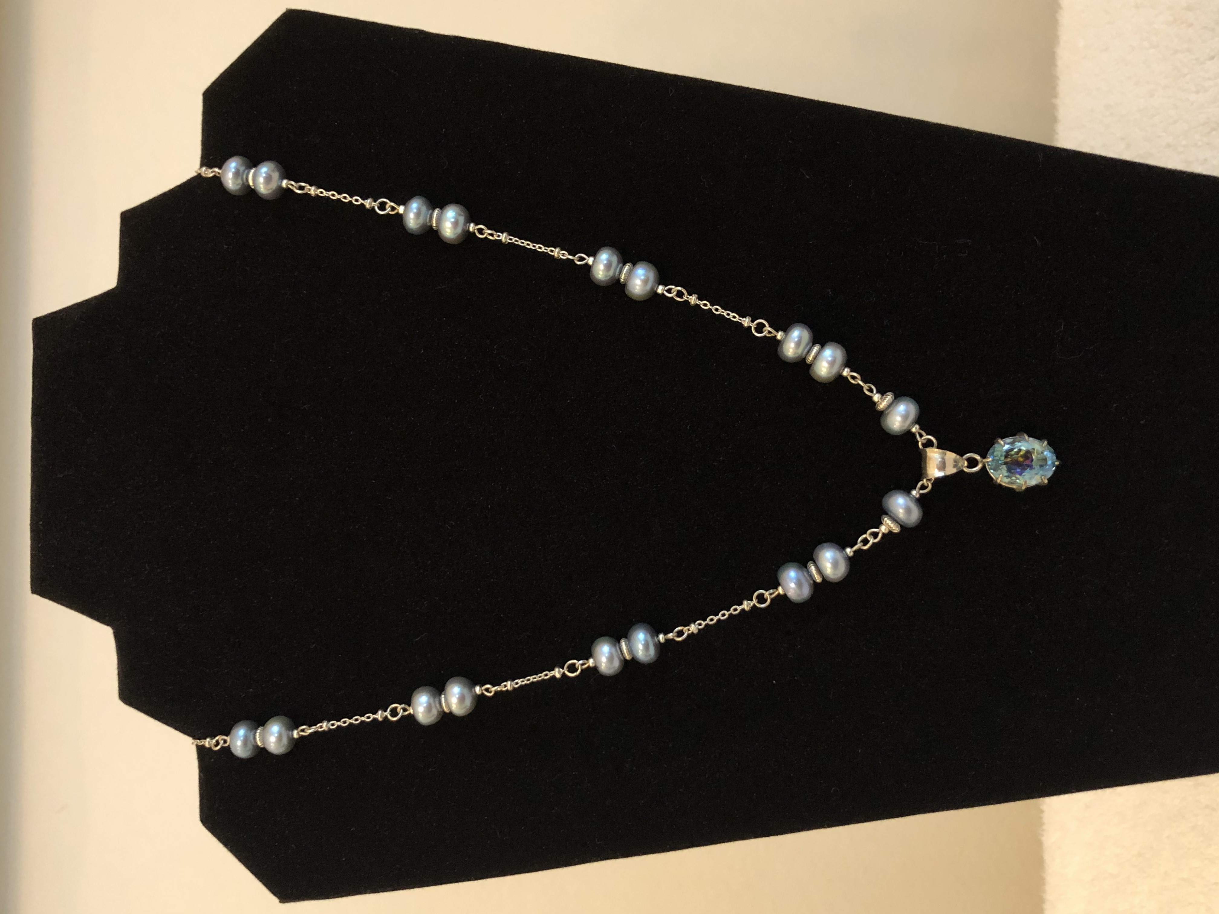 Sterling Silver Necklace, w/Freshwater 8.5mm Charcoal Pearls & Mystic Topaz Pendant