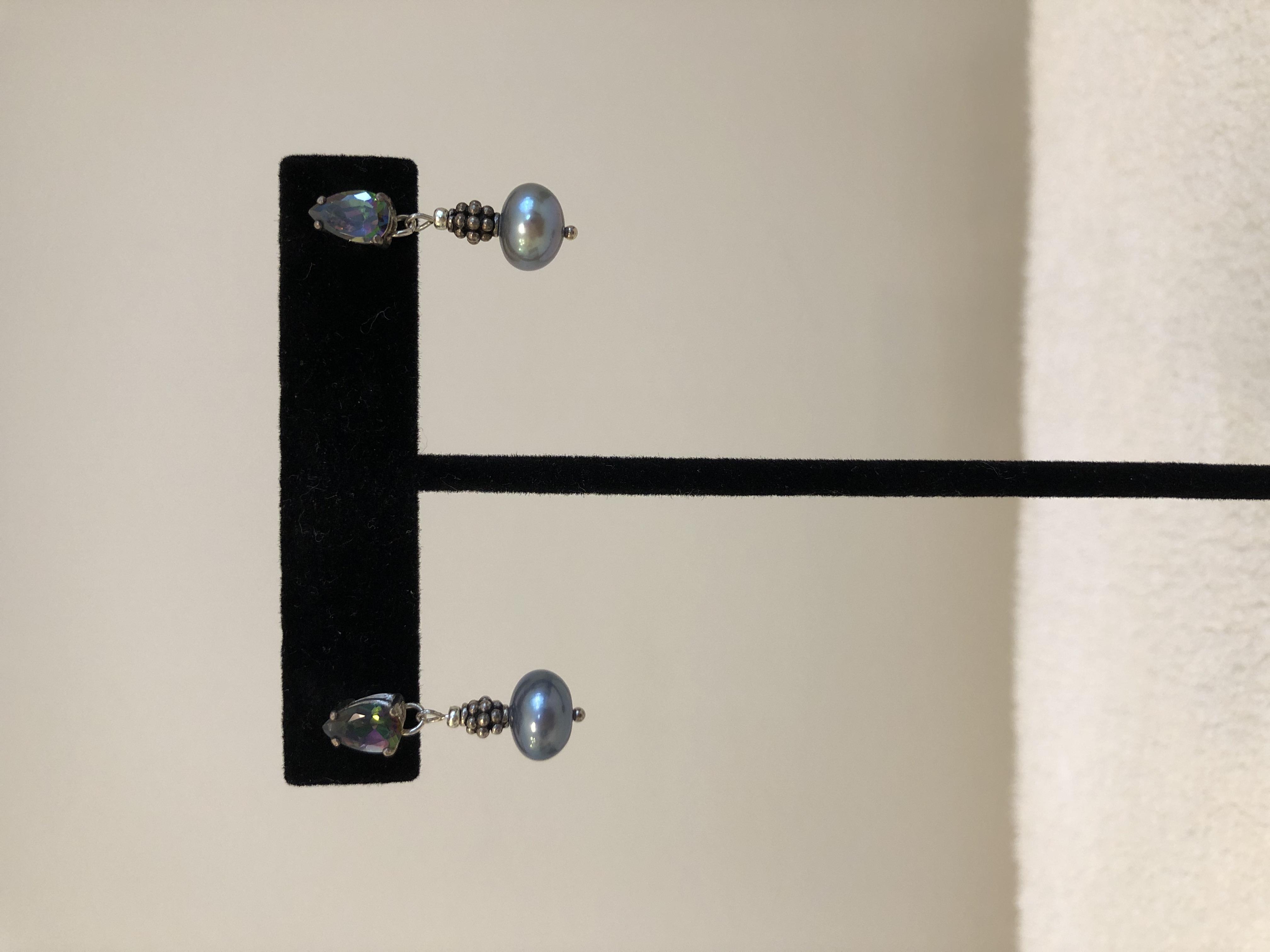 Sterling Silver Stud Earrings, w/Freshwater 8.5mm Charcoal Pearls & Mystic Topaz