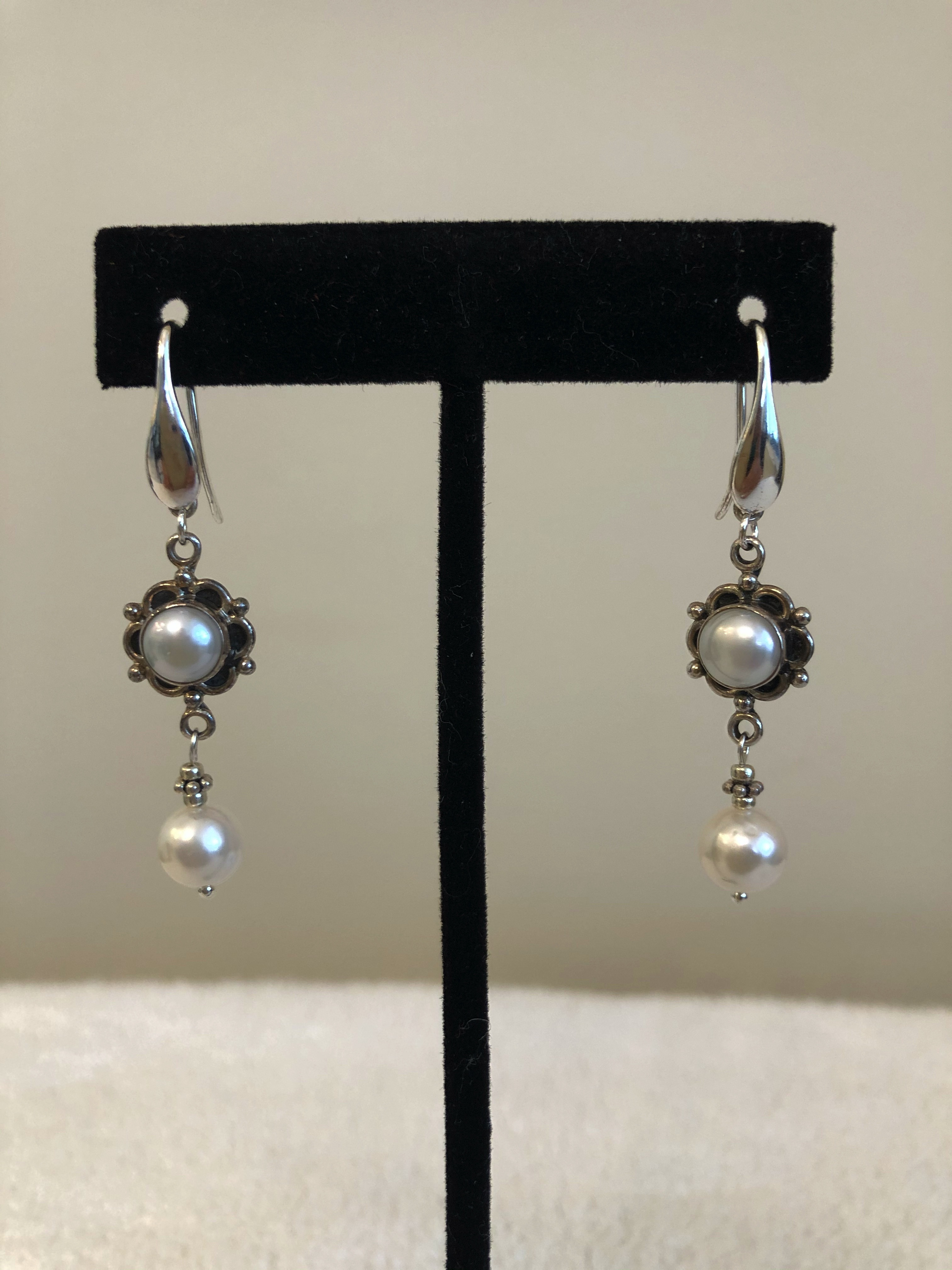 Sterling Silver Earrings, w/Freshwater Cultured Baroque & 8.5mm Pearls