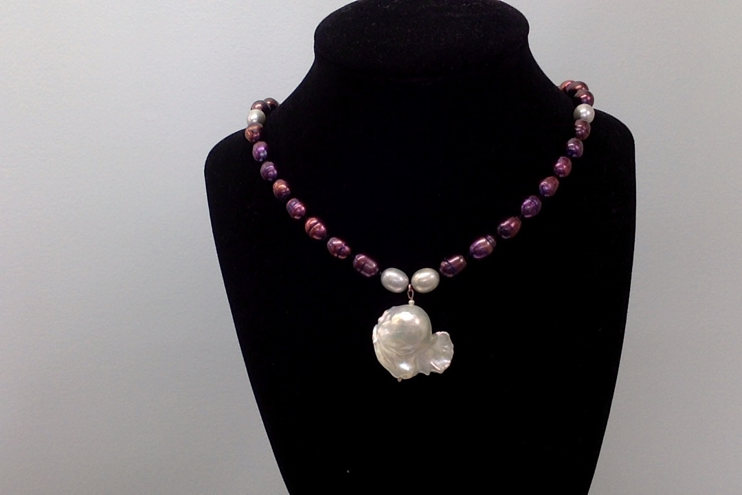 Sterling Silver Necklace w/Freshwater Black & Silver 8mm Pearls, Freshwater Baroque Pearl Pendant