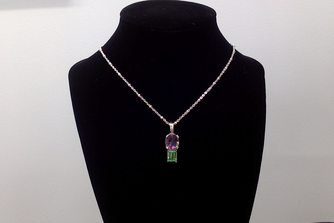 Sterling Silver Necklace w/Lab Created Emerald & Mystic Topaz Pendant